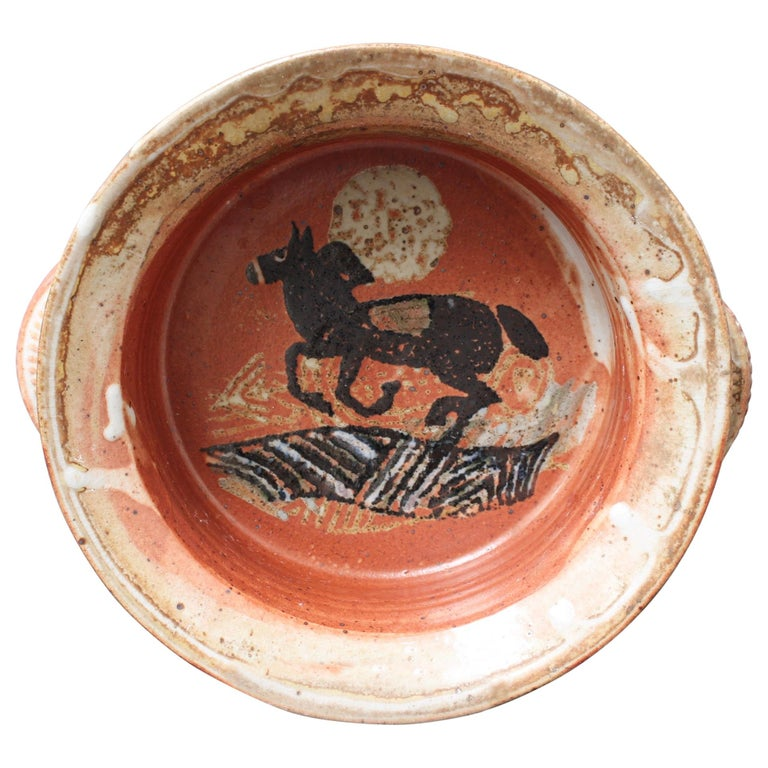 French Decorative Ceramic Bowl with Horse Motif 'circa 1950s' For Sale