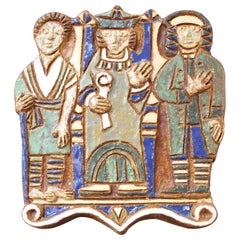 French Decorative Ceramic Wall Plaque with Three Figures by Les Argonautes 1960s