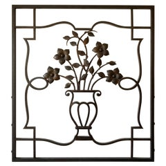 French Decorative Iron Wall Sculpture or Applique, Urn and Floral Motif