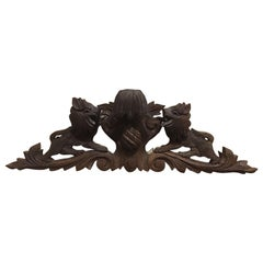 French Decorative Over Door Carved Wood Fragment, 19th Century