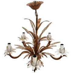 French Decorative Tole Wheat Sheaf Chandelier 'circa 1960s'