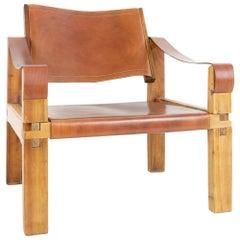 French Decorator Pierre Chapo Sahara or S10 Armchair, Elmwood, Leather