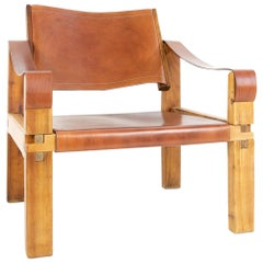 French Decorator Pierre Chapo Sahara or S10 Armchair, Elmwood, Leather
