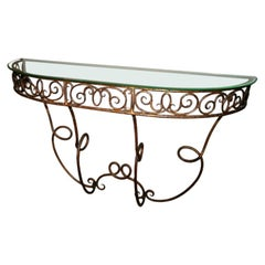 French Demi-Lune Gilded Metal Console with Glass Top, 1920s