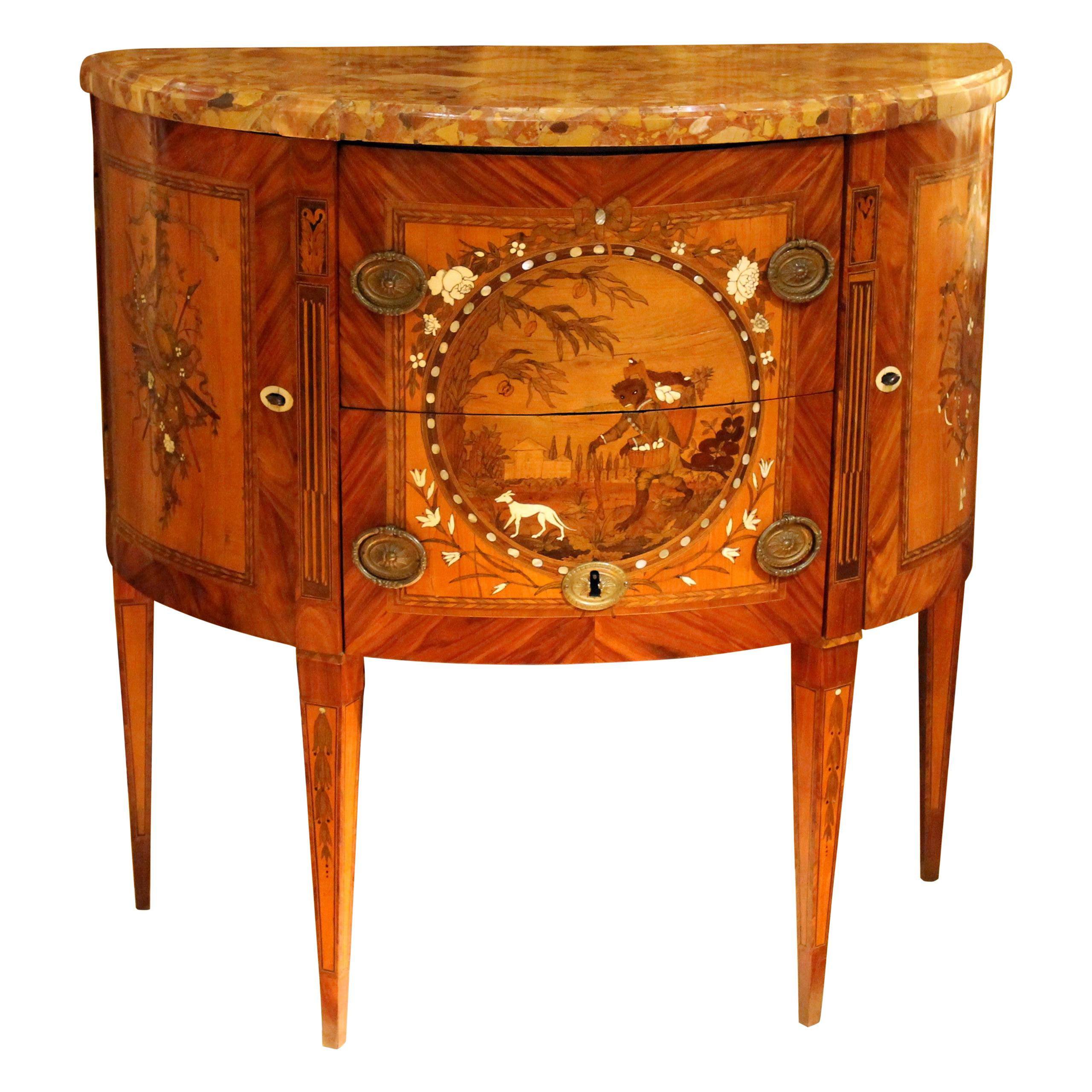 Antique Louis XVI French Demilune Marquetry Chest of Drawers Stamped Tondeur