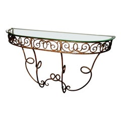 French Demilune Gilded Metal Console Table with Glass Top, 1920s