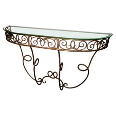 French Demilune Gilded Metal Console with Glass Top, 1920s