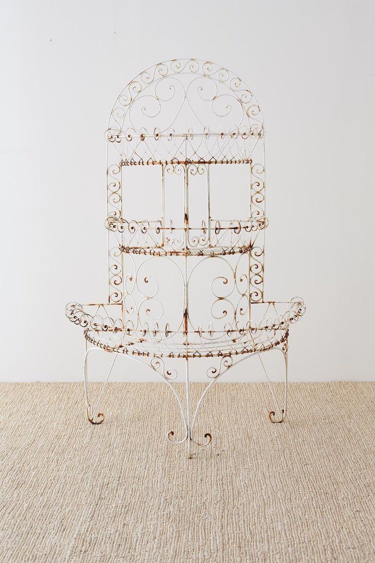 Late Victorian French Demilune Three-Tier Iron Wire Plant Stand For Sale