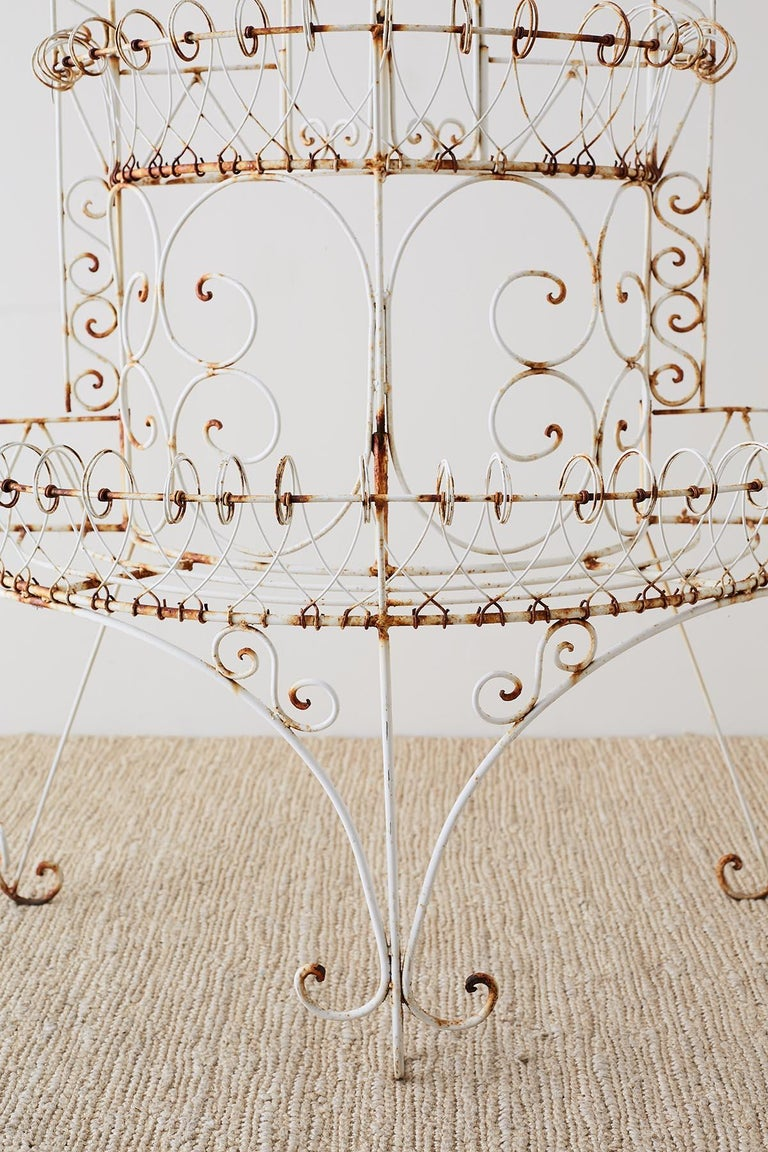 20th Century French Demilune Three-Tier Iron Wire Plant Stand For Sale