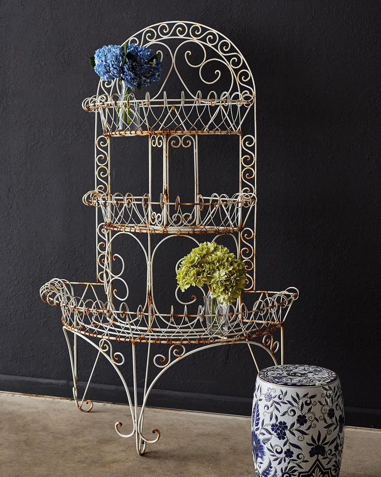 French Demilune Three-Tier Iron Wire Plant Stand For Sale 1
