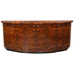 French Design and Art Deco Style Burl Wood and Brass Curved Sideboard