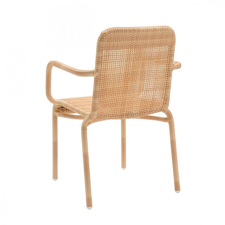 Mid-Century Modern French Design and Braided Resin Rattan Effect Outdoor Armchair For Sale