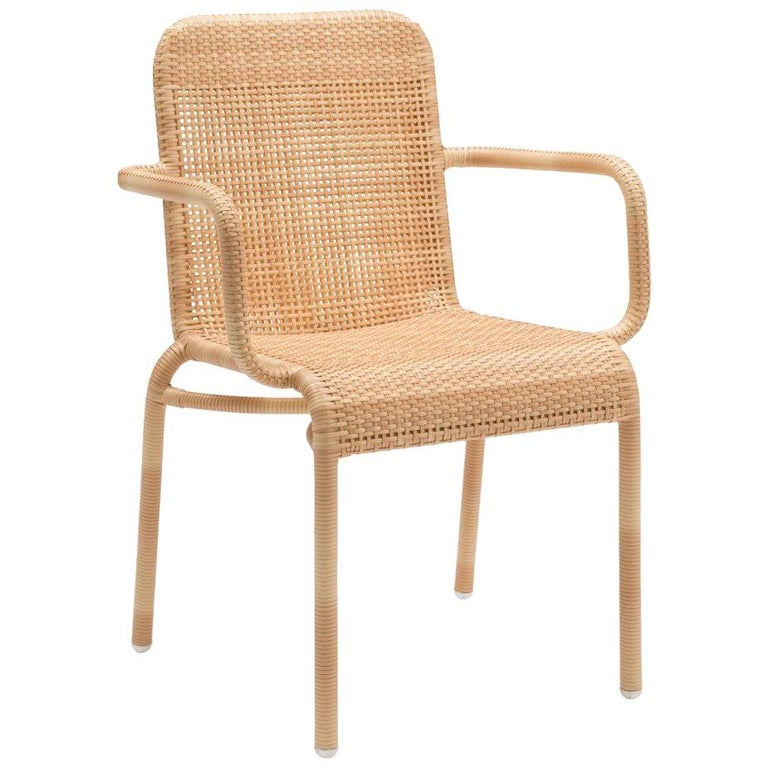 French Design and Braided Resin Rattan Effect Outdoor Armchair For Sale