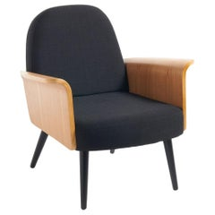 French Design and Midcentury Style Black Fabric and Wood Armchair