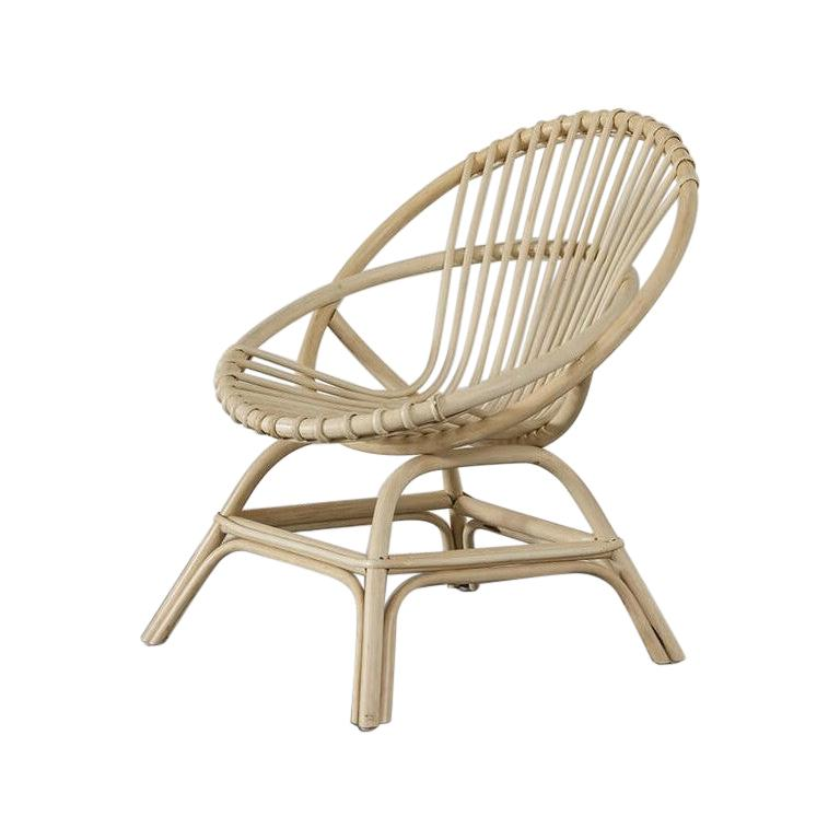 French Design and Midcentury Style Natural Rattan Armchair