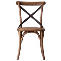 French Design and Parisian Bistro Style Oak Wooden and Wicker Chair