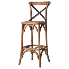 French Design and Parisian Bistrot Style Wooden and Wicker Bar Stool