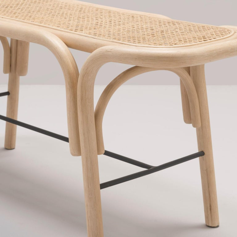 French Design Bench in Rattan Structure and Cane Seat In New Condition For Sale In Tourcoing, FR
