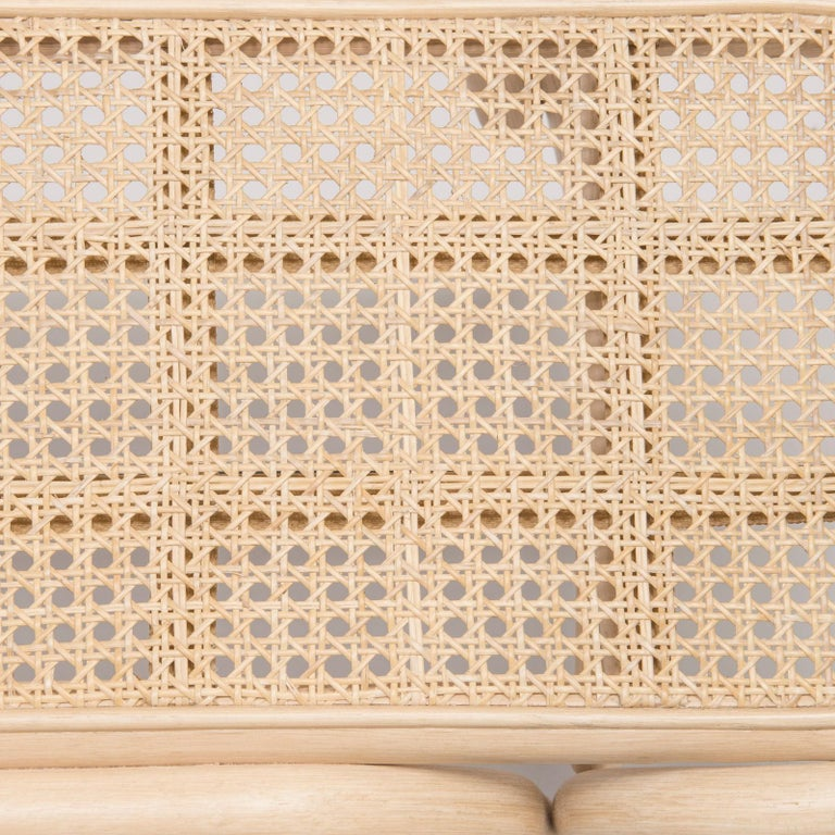 Contemporary French Design Bench in Rattan Structure and Cane Seat For Sale