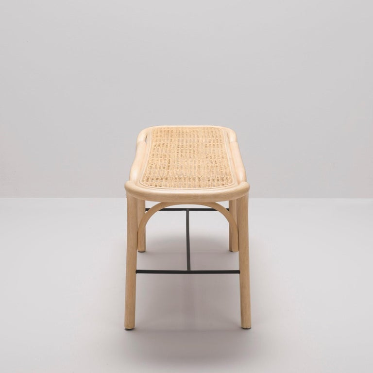 French Design Bench in Rattan Structure and Cane Seat For Sale 1