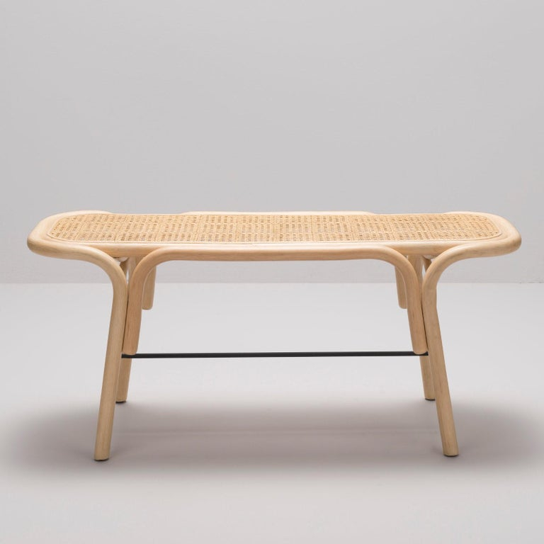 French Design Bench in Rattan Structure and Cane Seat For Sale 2