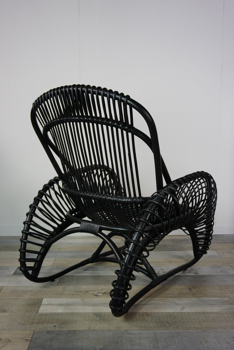 French Design Black Rattan Lounger Armchair For Sale at ...