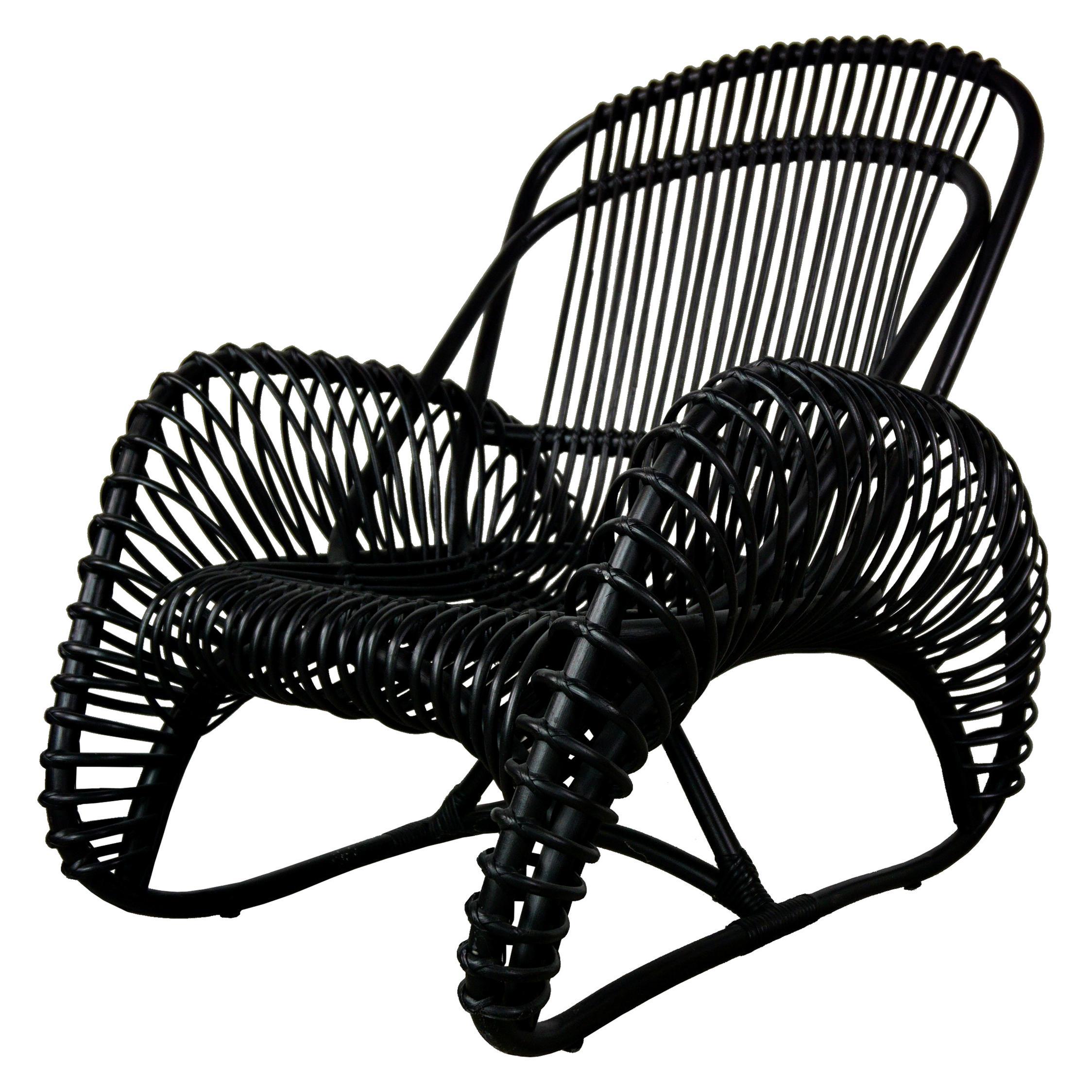 French Design Black Rattan Lounger Armchair