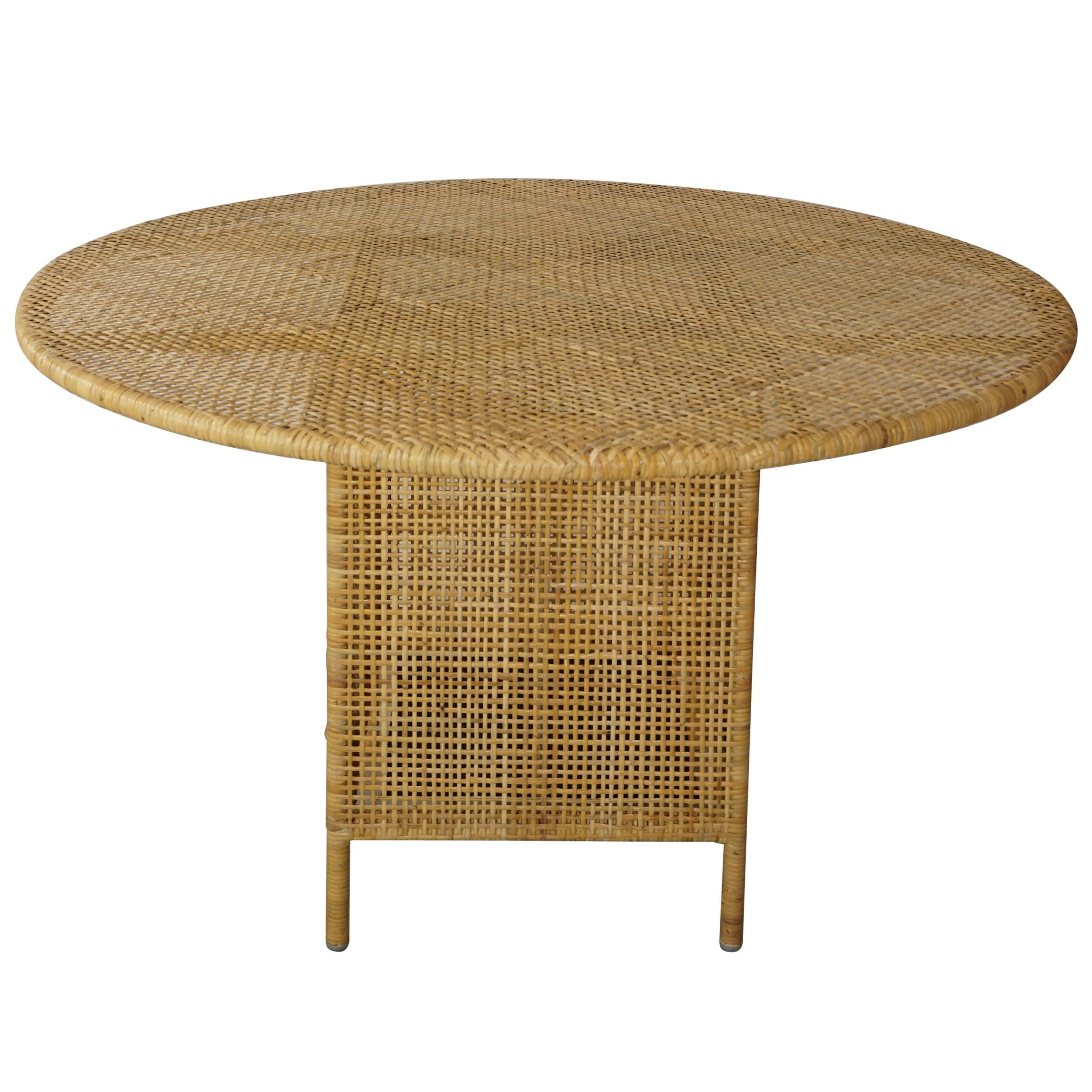 French Design Braided Rattan Round Dining Table
