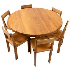 French Design Classic: Pierre Chapo Elm Sfax Dining Set, T21 & S24, 1970s