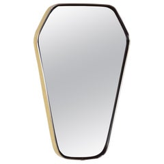 French Design Diamond Shape Brass and Black Outlined Mirror, 1950s