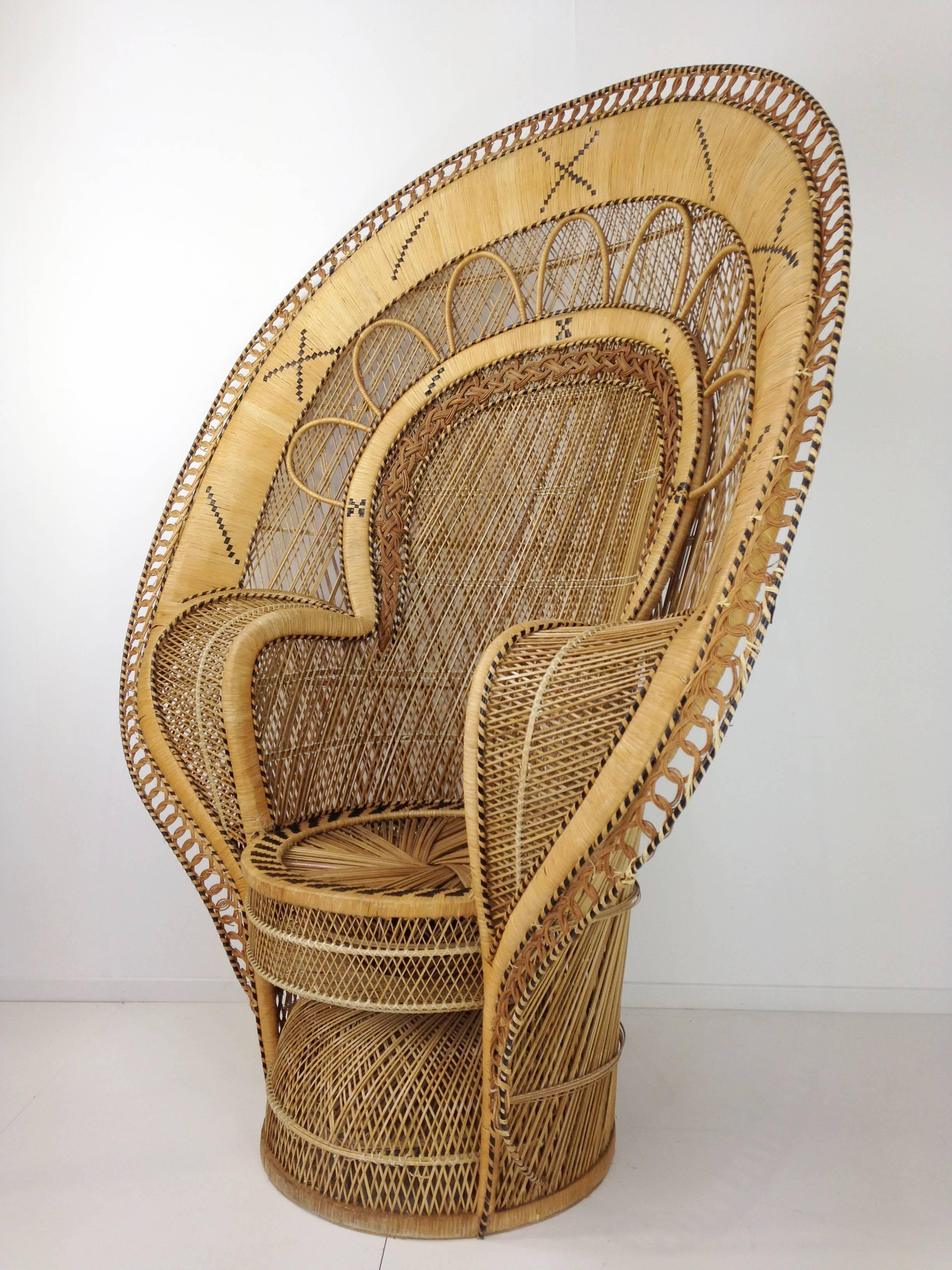Regency French Design Emmanuelle Extra Large Wicker Armchair From The 1970  For Sale
