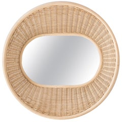 French Design Handbraided and Curved Rattan Wall-Mounted Mirror