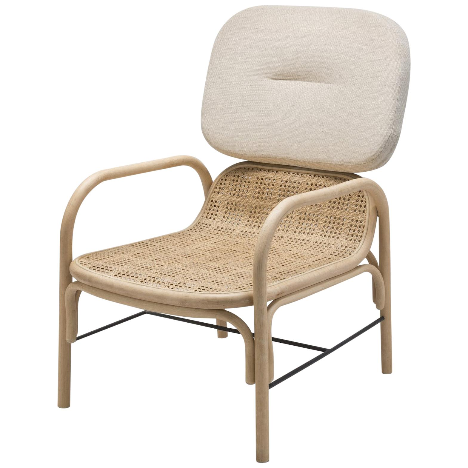 French Design Handcrafted Rattan and Wicker Cane Lounger Armchair