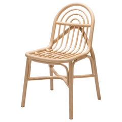 French Design Handmade and MCM Style Curved Rattan Chair