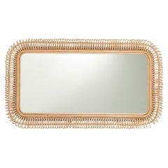 French Design Large Rectangular Rattan Mirror