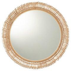 French Design Large Round Rattan Mirror