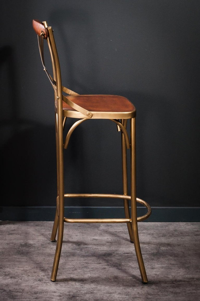 French Design Patina Brass Finish Metal And Cognac Leather