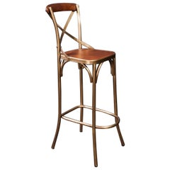 French Design Patina Brass Finish Metal and Cognac Leather Bar Stool