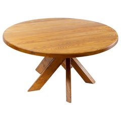 French Design Pierre Chapo Five Legged Elm T21d Sfax Round Table, 1970s