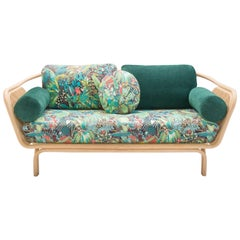 French Design Rattan and Wicker Cane with Green Forest and Jungle Fabric Sofa