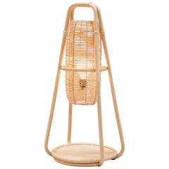 French Design Rattan and Wicker Large Table or Floor Lamp
