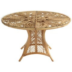 French Design Round Rattan And Tempered Glass Pedestal Table