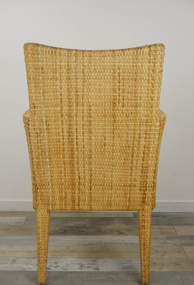 French Design Rattan Wicker Pair of Bridge Armchairs For Sale 5