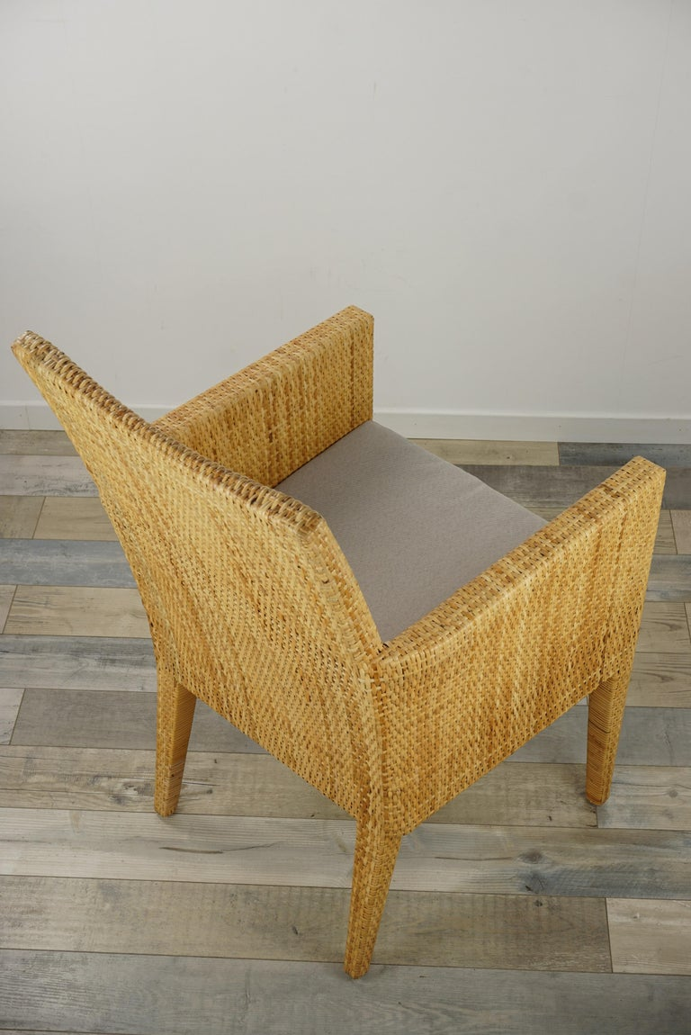 French Design Rattan Wicker Pair of Bridge Armchairs For Sale 6