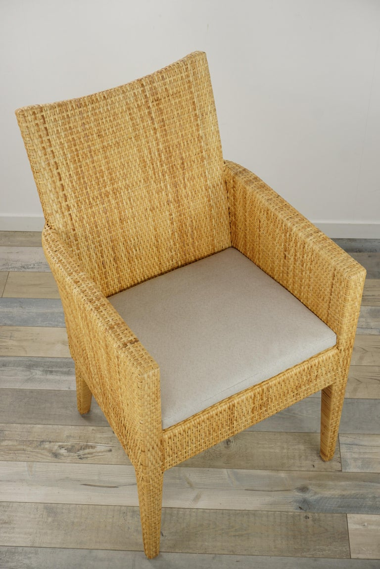 French Design Rattan Wicker Pair of Bridge Armchairs For Sale 7