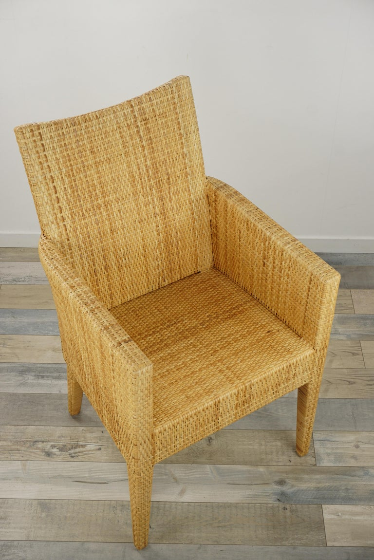 French Design Rattan Wicker Pair of Bridge Armchairs For Sale 8