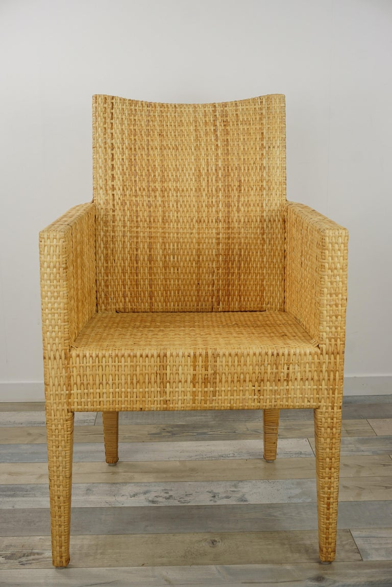 French Design Rattan Wicker Pair of Bridge Armchairs For Sale 9