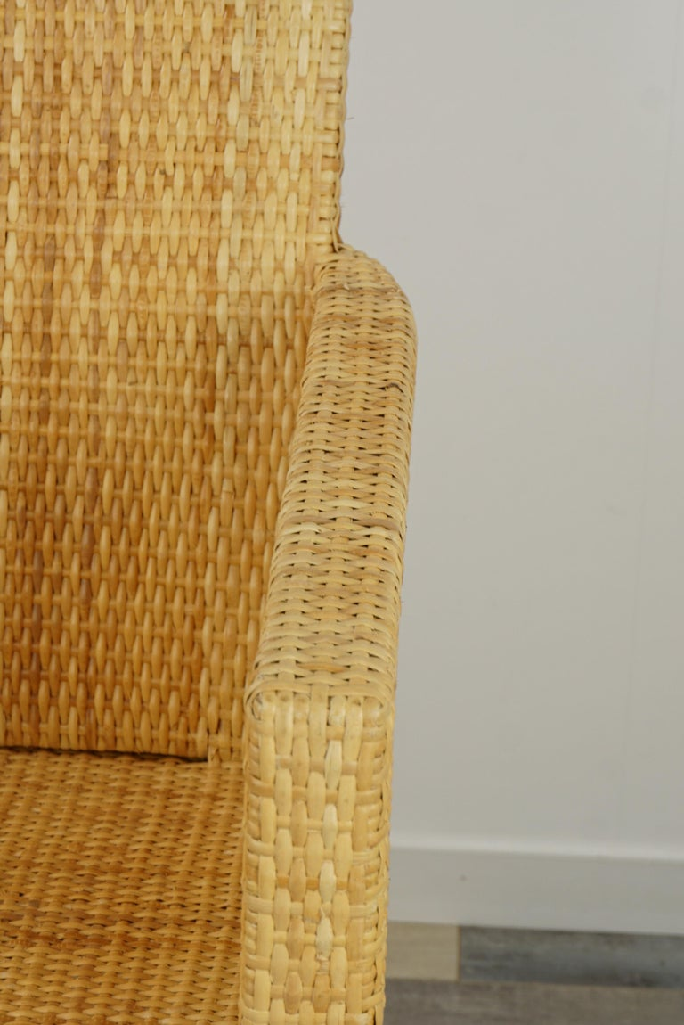 French Design Rattan Wicker Pair of Bridge Armchairs For Sale 10
