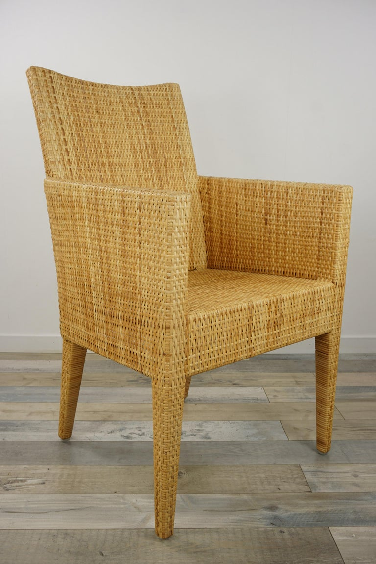 French Design Rattan Wicker Pair of Bridge Armchairs For Sale 12