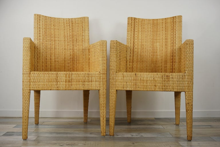 Hollywood Regency French Design Rattan Wicker Pair of Bridge Armchairs For Sale